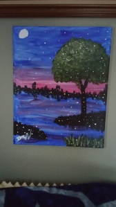 Here is my painting again, now on my wall with different lighting.  I still really like it.